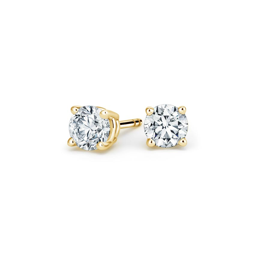 18K Yellow Gold Four-prong Round Diamond Stud Earrings, top view