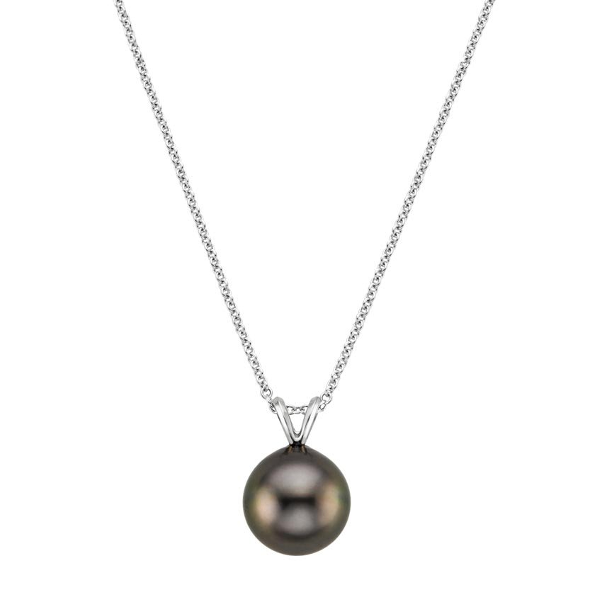 18K White Gold Tahitian Cultured Pearl Pendant, top view