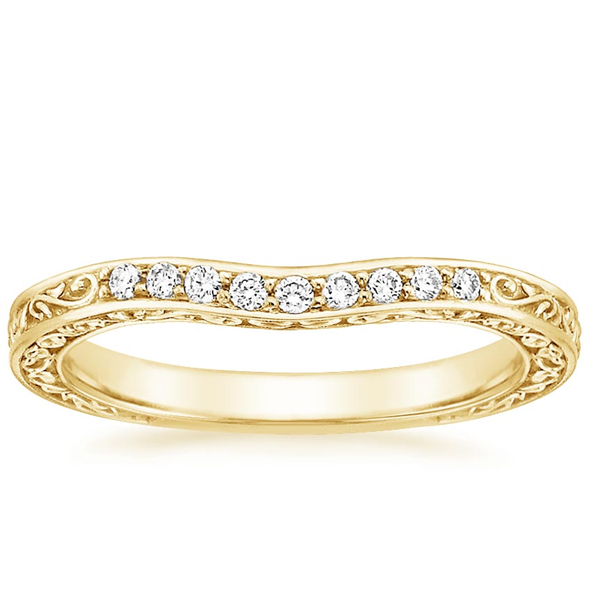 Yellow Gold Antique Scroll Three Stone Trellis Contoured Diamond Ring