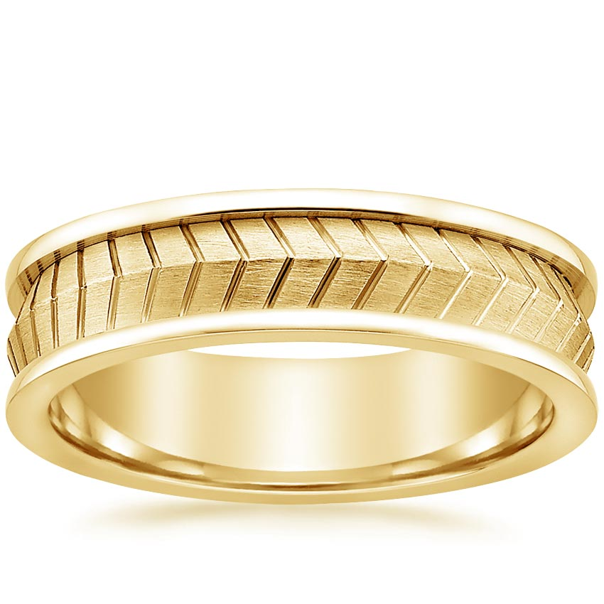 Yellow Gold Chevron Men's Wedding Ring