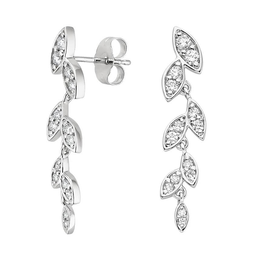 Wisteria Diamond Earrings in 18K White Gold