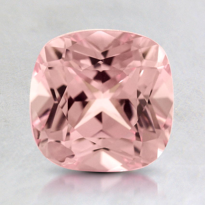 7mm Lab Created Pink Cushion Sapphire, top view