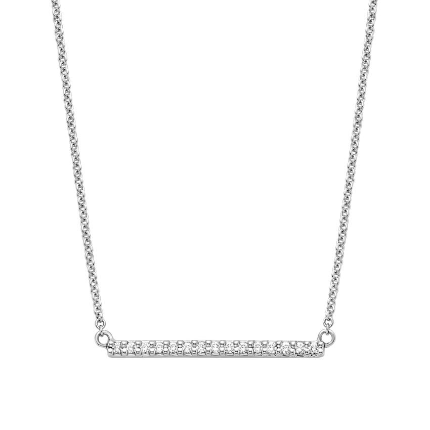 Diamond Pavé Bar Pendant in 18K White Gold