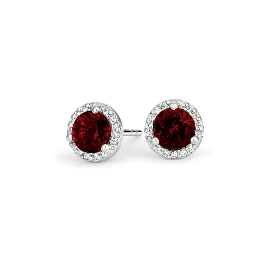 Garnet Halo Diamond Earrings in 18K White Gold