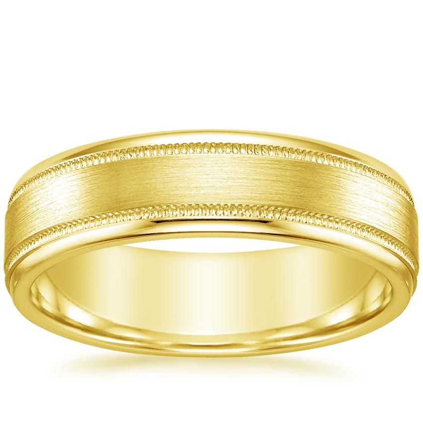 18K Yellow Gold Shasta Matte Wedding Ring, top view