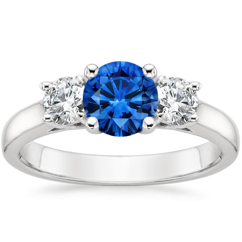 Sapphire Three Stone Diamond Trellis Ring in 18K White Gold with 6mm Round Blue Sapphire