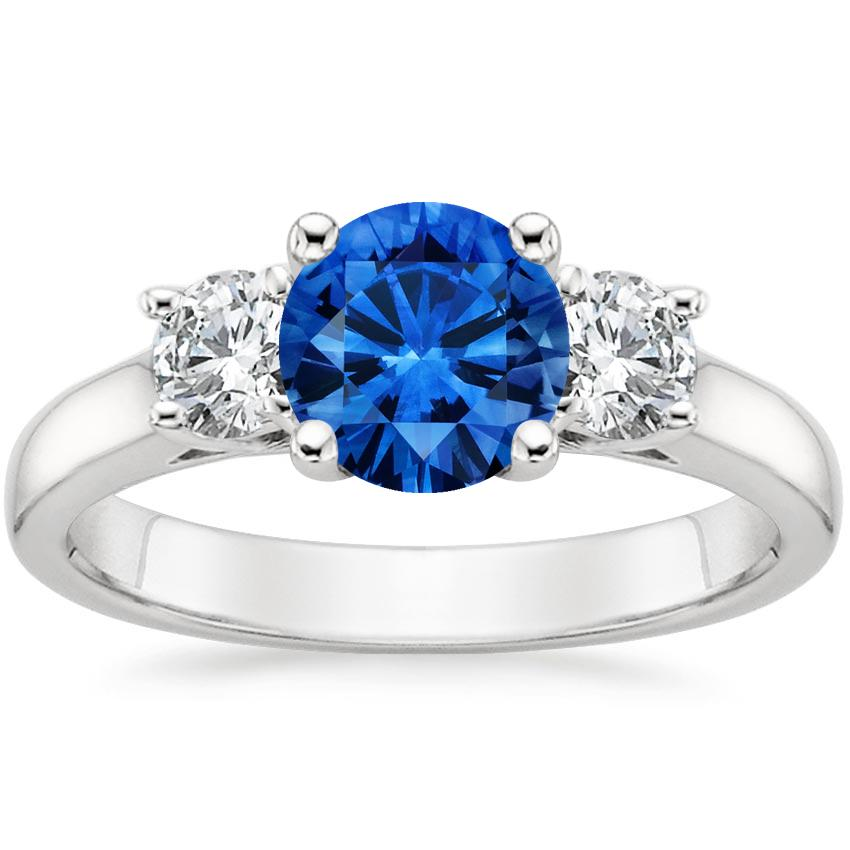Sapphire Three Stone Diamond Trellis Ring in 18K White Gold with 6.5mm Round Blue Sapphire