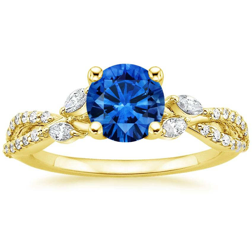 Sapphire Luxe Willow Diamond Ring (1/3 ct. tw.) in 18K Yellow Gold with 6mm Round Blue Sapphire