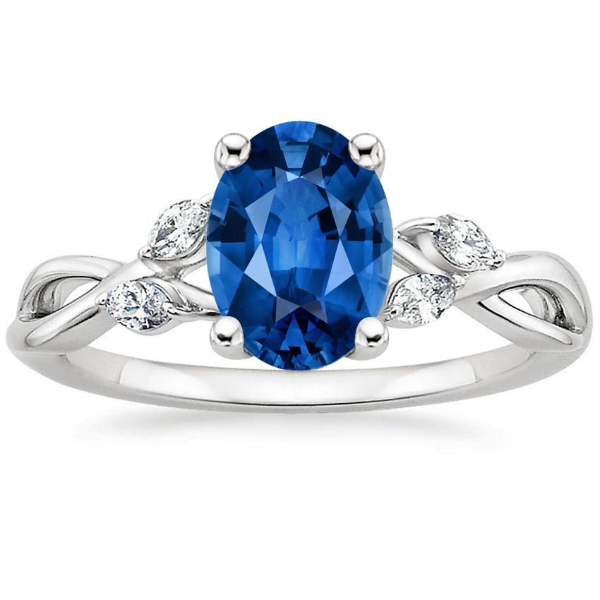 18K White Gold Sapphire Willow Diamond Ring, top view