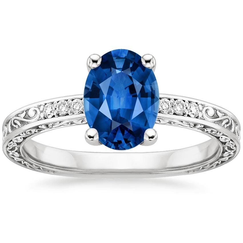 Sapphire Delicate Antique Scroll Diamond Ring in 18K White Gold with 8x6mm Oval Blue Sapphire