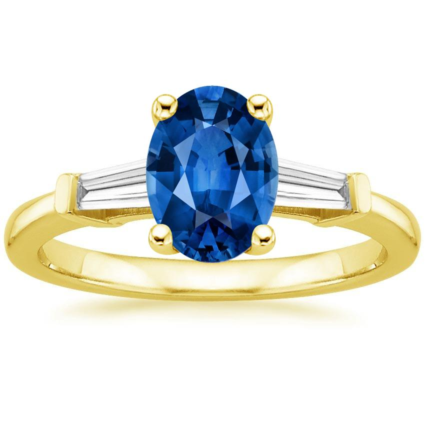 Sapphire Tapered Baguette Diamond Ring in 18K Yellow Gold with 8x6mm Oval Blue Sapphire