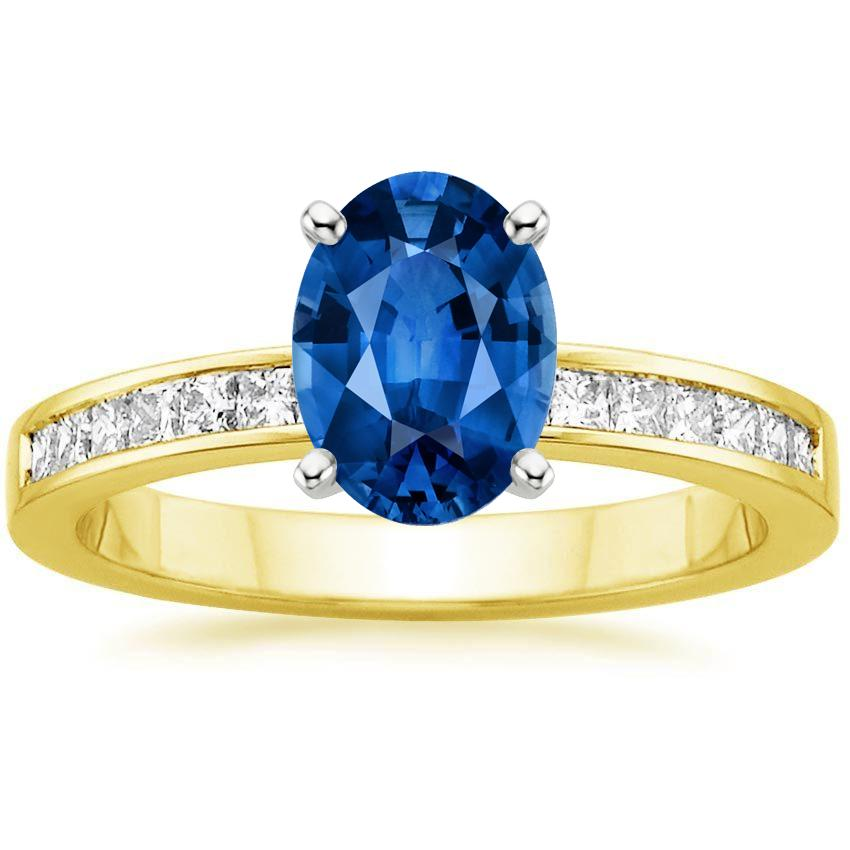 Sapphire Petite Channel Set Princess Diamond Ring (1/4 ct. tw.) in 18K Yellow Gold with 8x6mm Oval Blue Sapphire