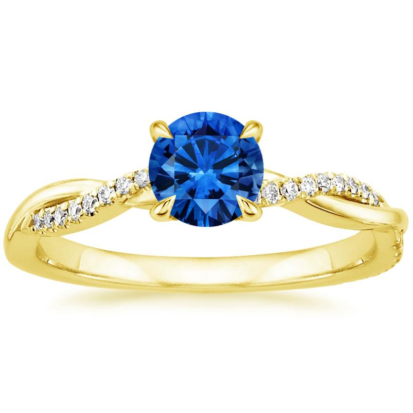 Sapphire Petite Twisted Vine Diamond Ring in 18K Yellow Gold with 5.5mm Round Blue Sapphire
