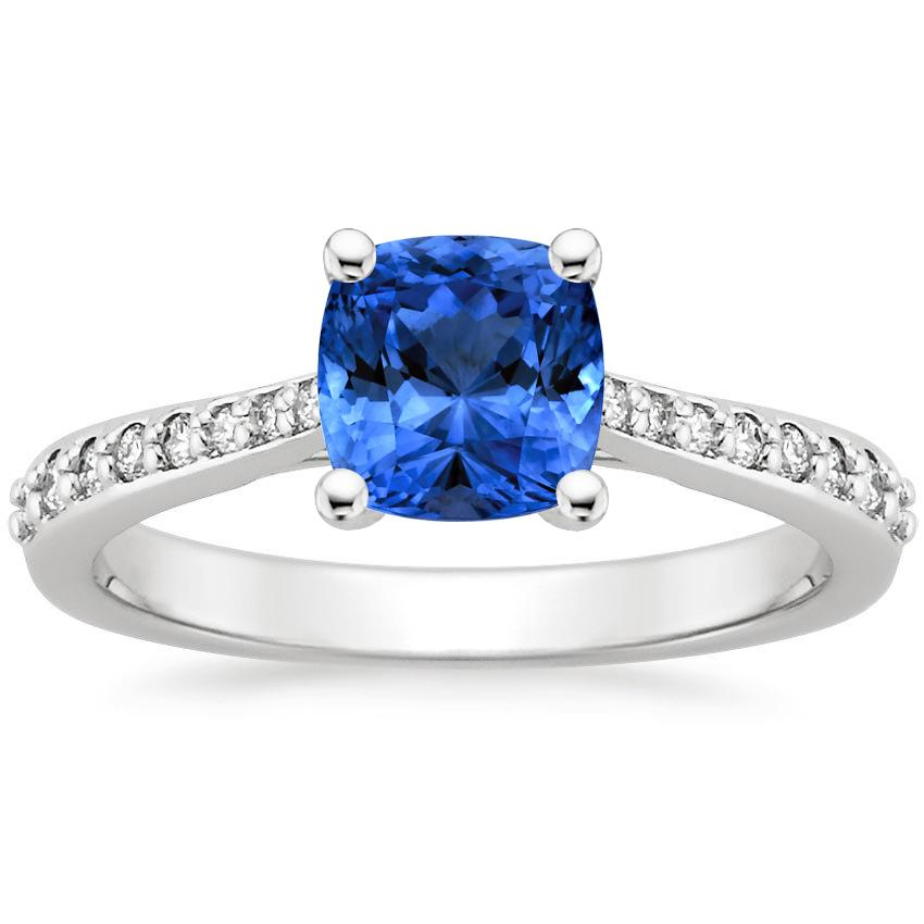 Sapphire Geneva Ring in 18K White Gold with 6x6mm Cushion Blue Sapphire