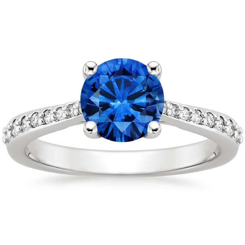 Sapphire Geneva Ring in Platinum with 6.5mm Round Blue Sapphire