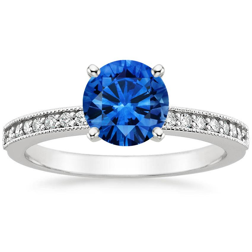 Sapphire Pavé Milgrain Diamond Ring in 18K White Gold with 6.5mm Round Blue Sapphire