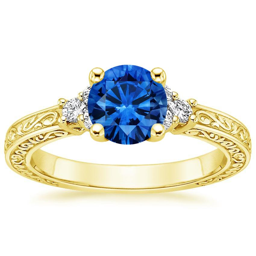 Sapphire Adorned Trio Diamond Ring in 18K Yellow Gold with 6mm Round Blue Sapphire