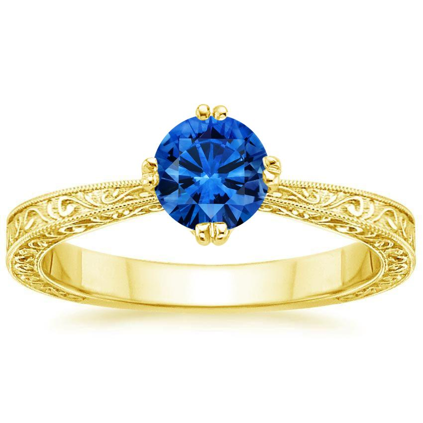 18K Yellow Gold Sapphire True Heart Ring, top view