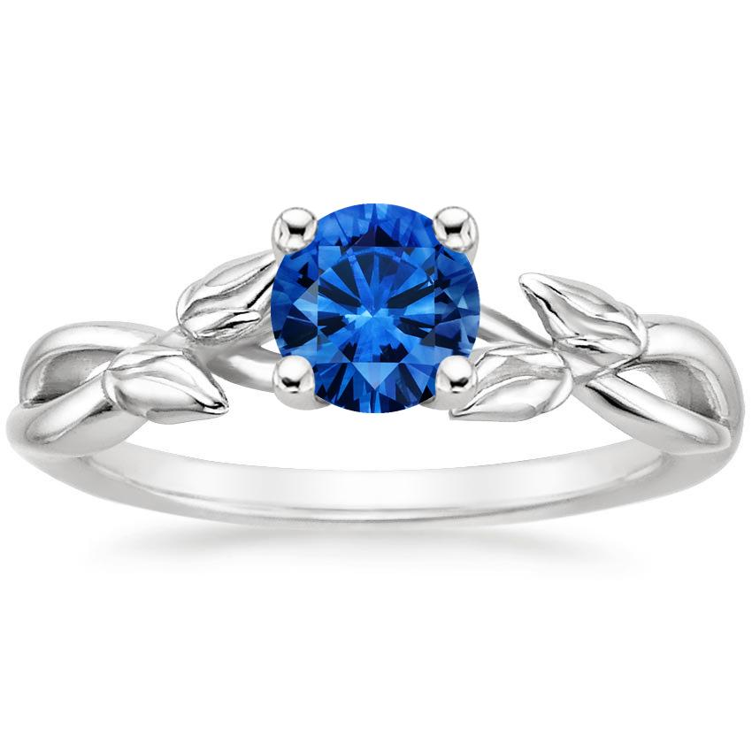 Sapphire Budding Willow Ring in 18K White Gold with 5.5mm Round Blue Sapphire