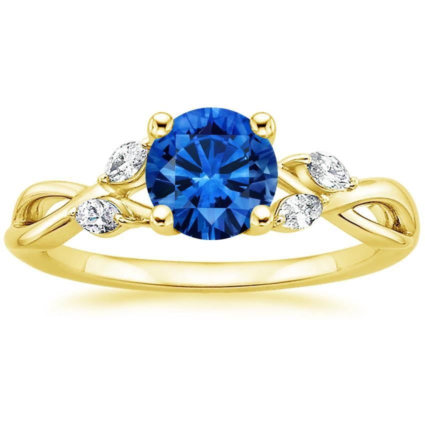 Sapphire Willow Diamond Ring (1/8 ct. tw.) in 18K Yellow Gold with 6mm Round Blue Sapphire