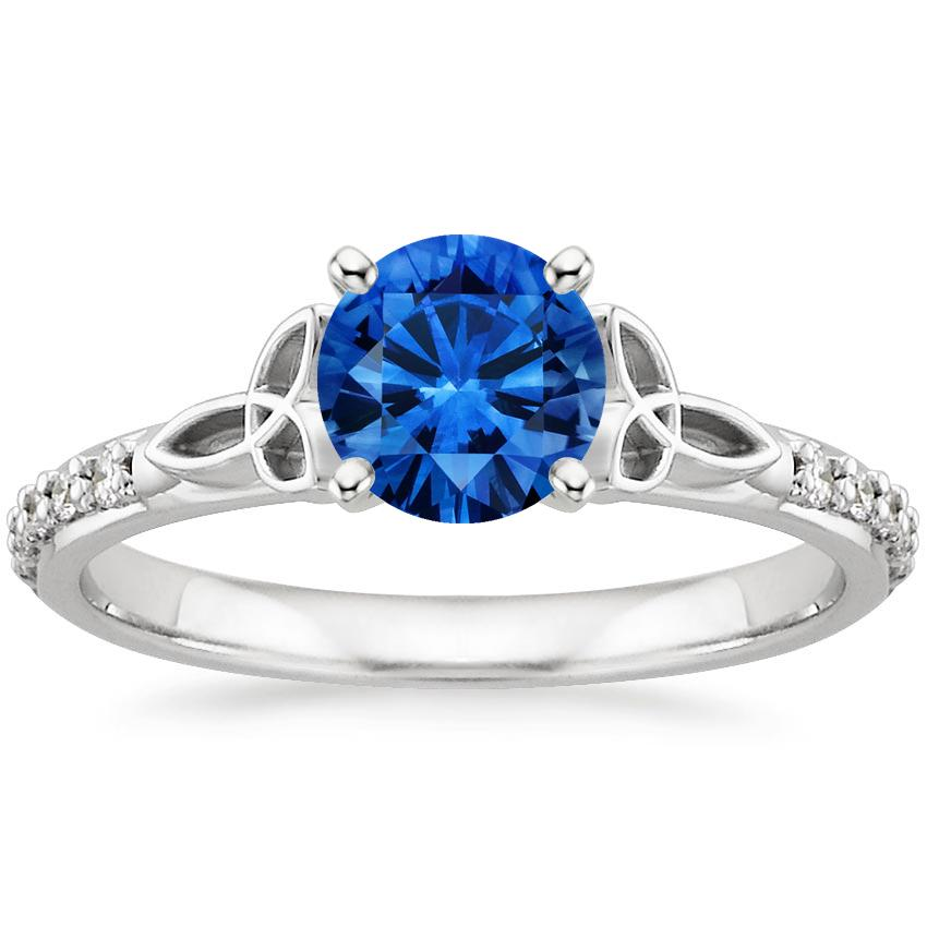Sapphire Luxe Celtic Love Knot Diamond Ring in 18K White Gold with 6mm Round Blue Sapphire