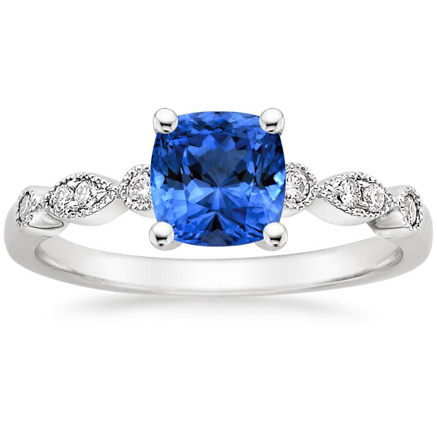 Sapphire Tiara Diamond Ring in 18K White Gold with 6x6mm Cushion Blue Sapphire
