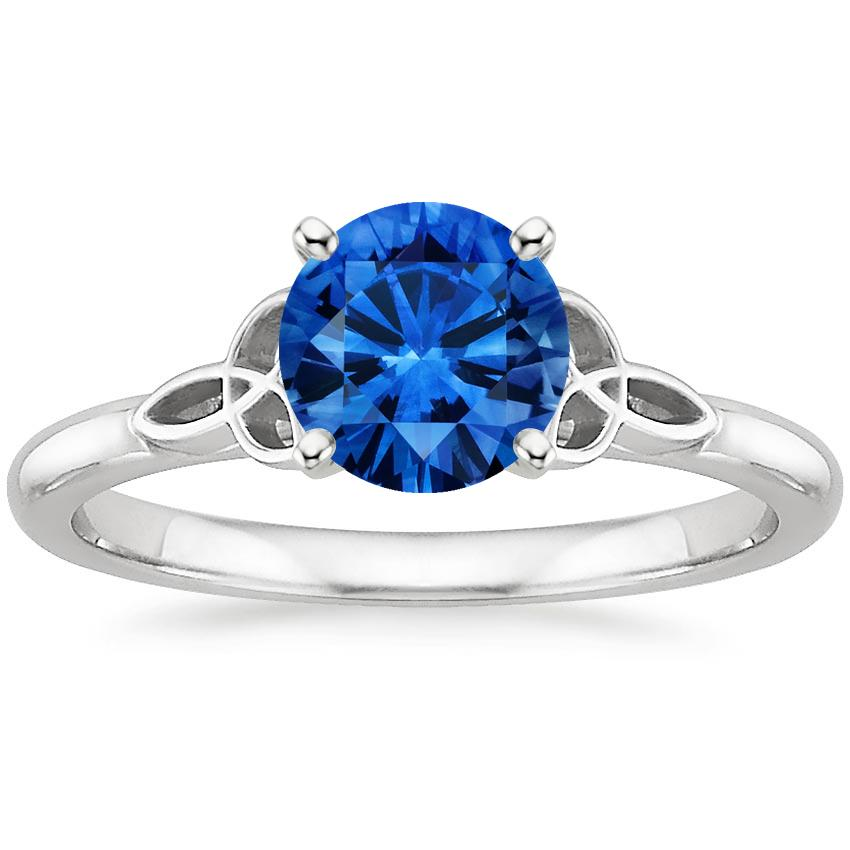 Sapphire Celtic Love Knot Ring in 18K White Gold with 6.5mm Round Blue Sapphire