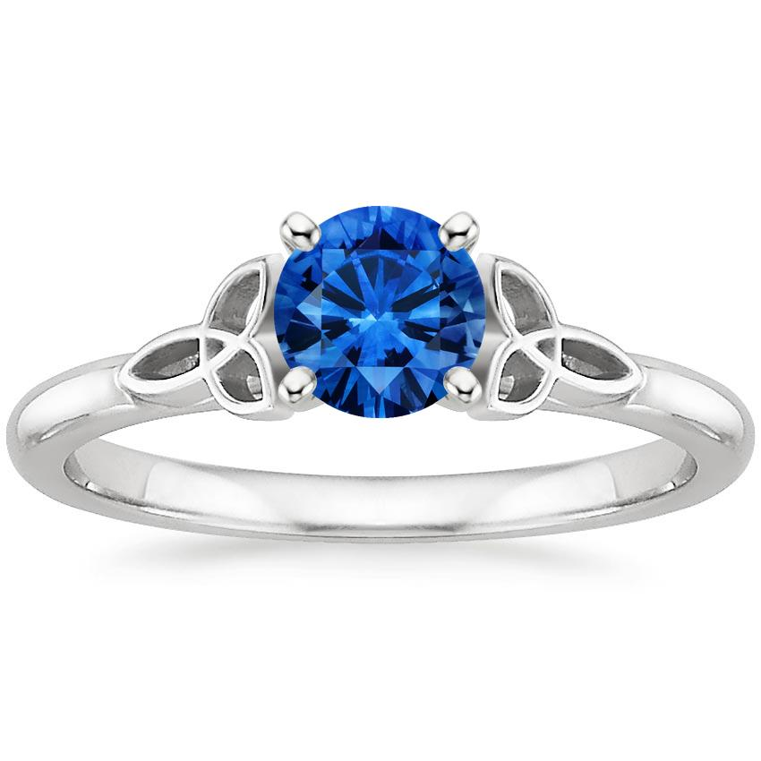 Sapphire Celtic Love Knot Ring in 18K White Gold with 5.5mm Round Blue Sapphire