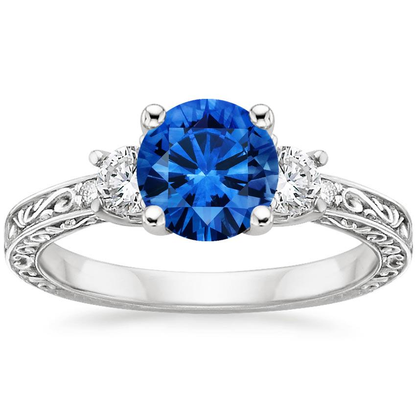 Sapphire Antique Scroll Three Stone Trellis Diamond Ring (1/3 ct. tw.) in Platinum with 6.5mm Round Blue Sapphire