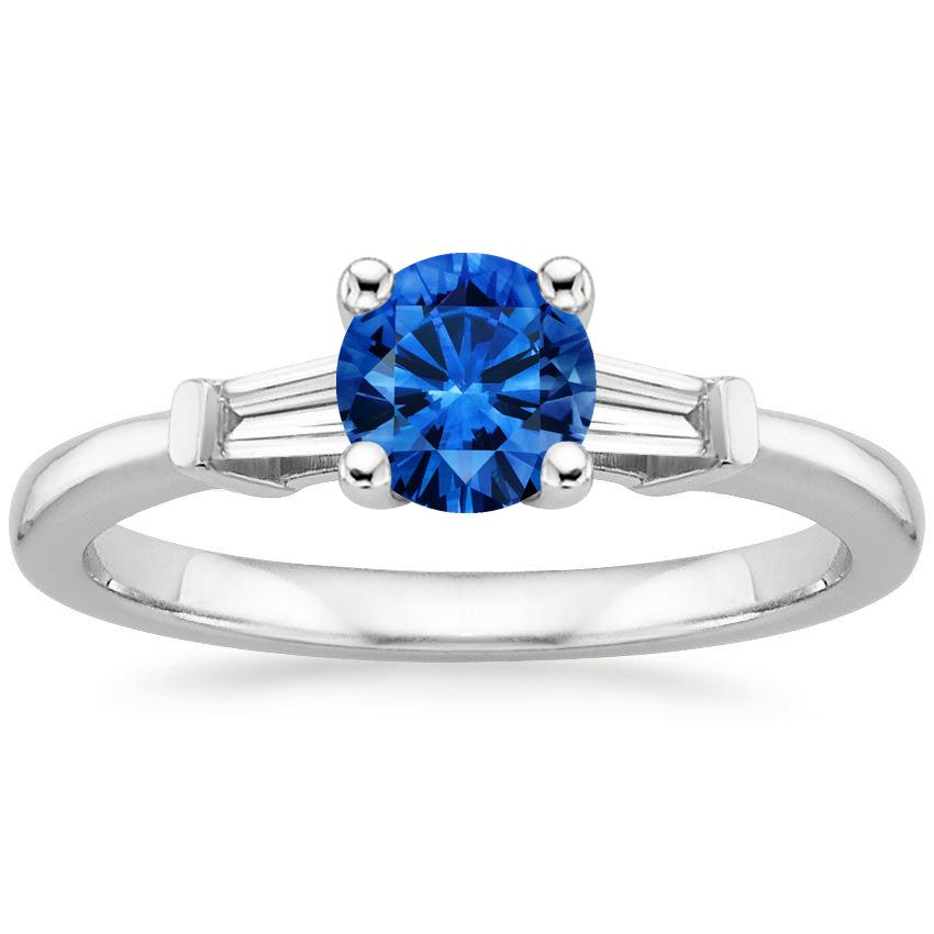 Sapphire Tapered Baguette Diamond Ring in Platinum with 5.5mm Round Blue Sapphire