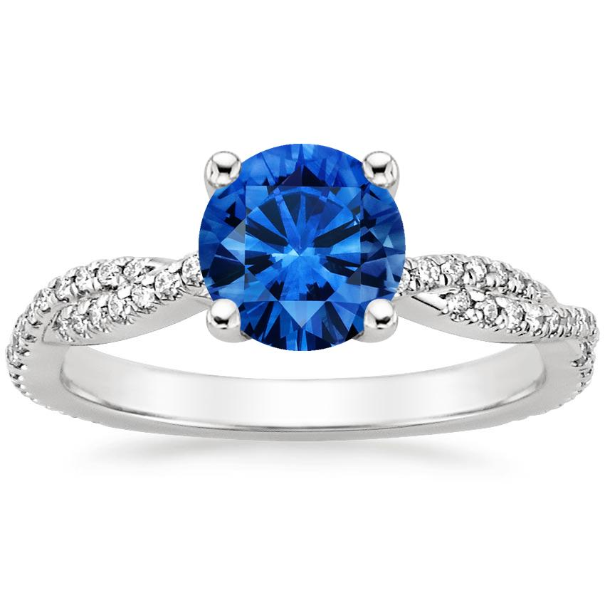 Sapphire Petite Luxe Twisted Vine Diamond Ring (1/4 ct. tw.) in 18K White Gold with 6.5mm Round Blue Sapphire