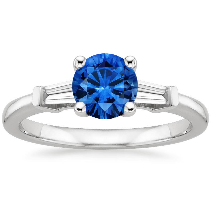 Sapphire Tapered Baguette Diamond Ring in Platinum with 6mm Round Blue Sapphire