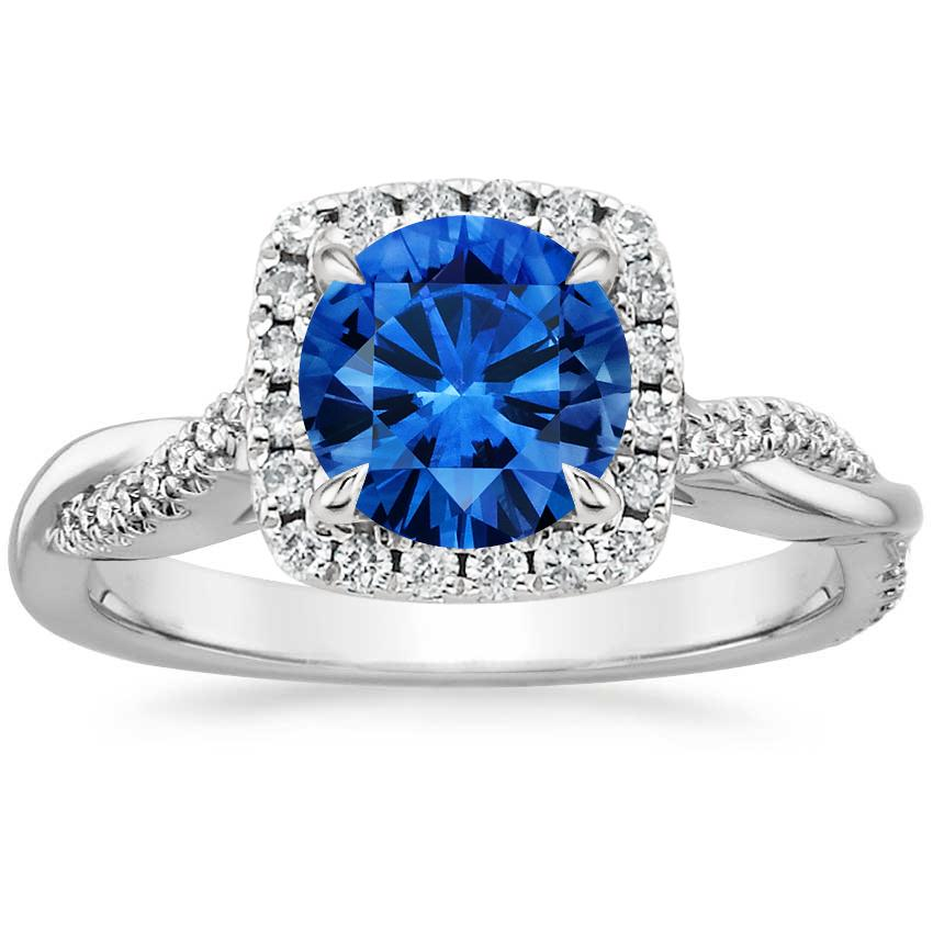 Top Twenty Sapphire Rings - SAPPHIRE PETITE TWISTED VINE HALO DIAMOND RING (1/4 CT. TW.)