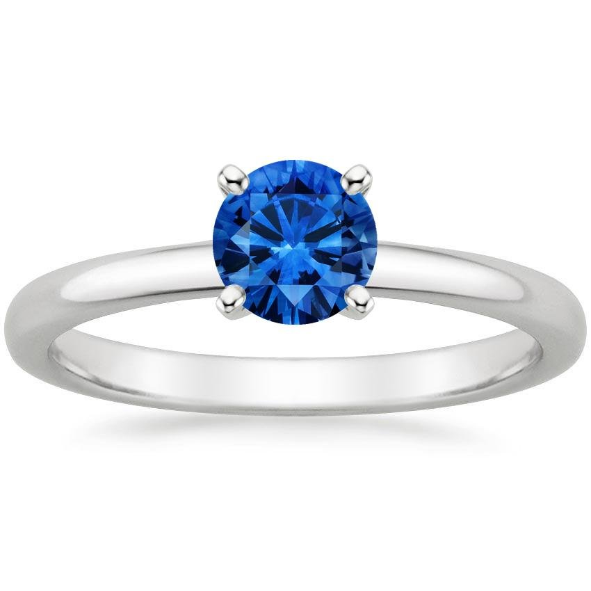 Sapphire 2mm Comfort Fit Ring in 18K White Gold with 5.5mm Round Blue Sapphire