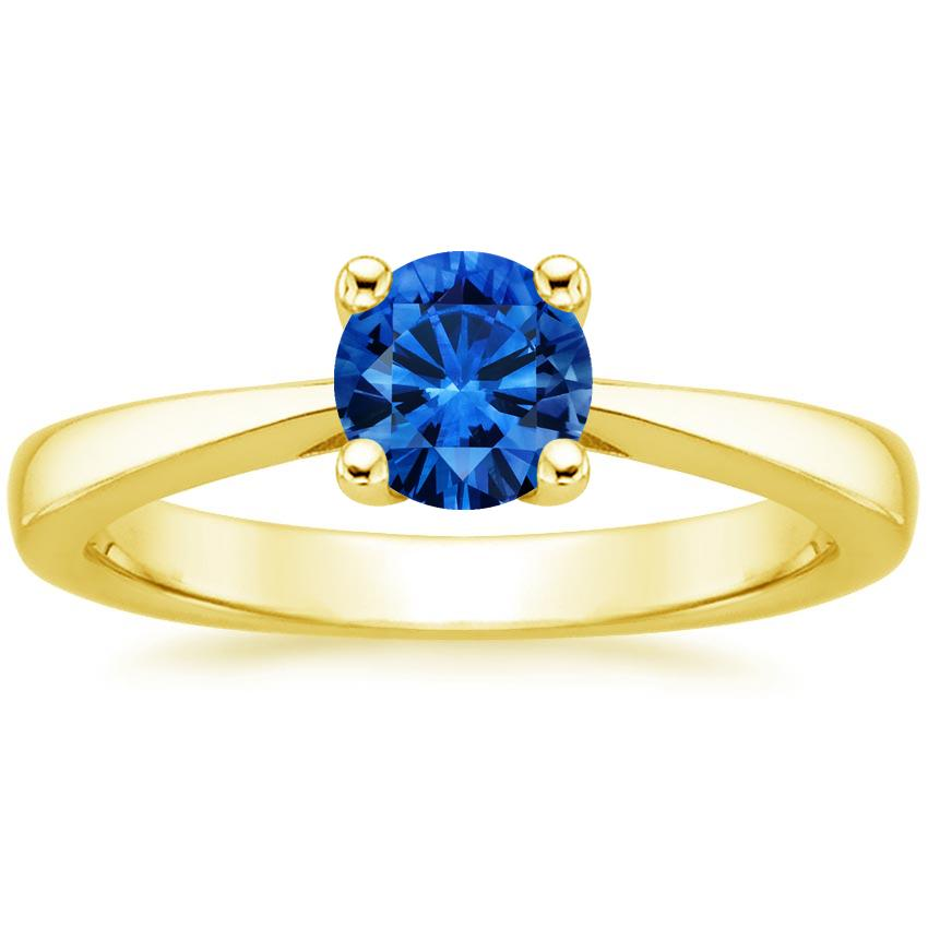 Sapphire Petite Tapered Trellis Ring in 18K Yellow Gold with 5.5mm Round Blue Sapphire