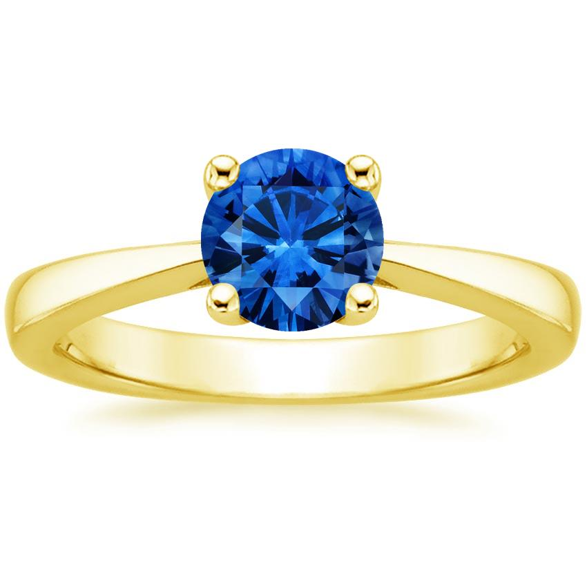 Sapphire Petite Tapered Trellis Ring in 18K Yellow Gold with 6mm Round Blue Sapphire