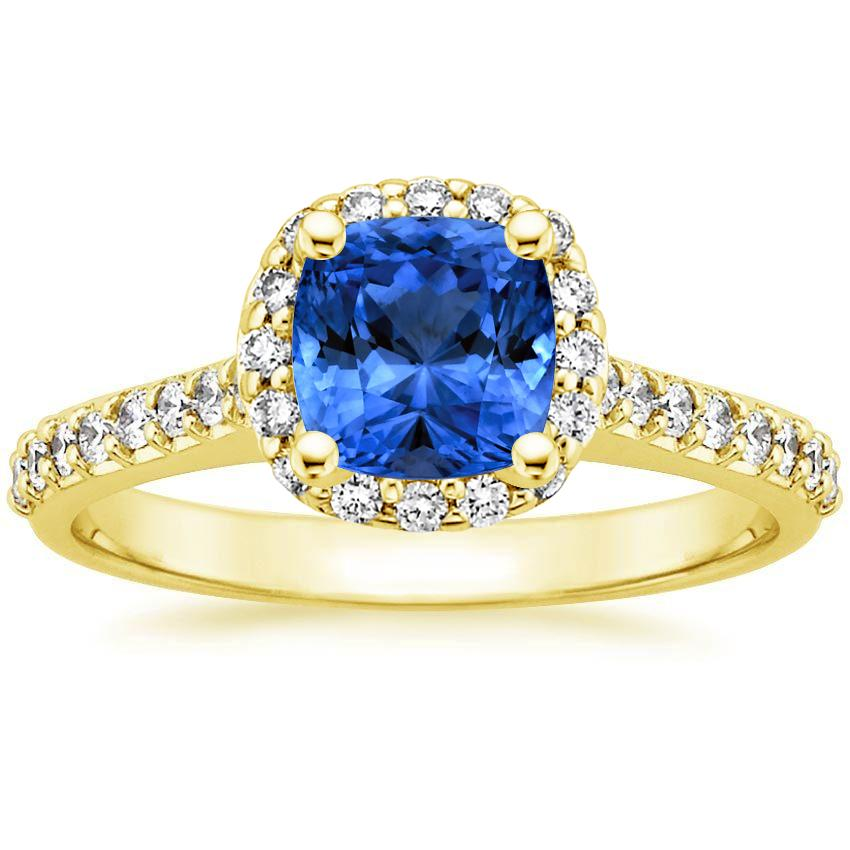 18K Yellow Gold Sapphire Fancy Halo Diamond Ring with Side Stones (2/5 ct. tw.), top view
