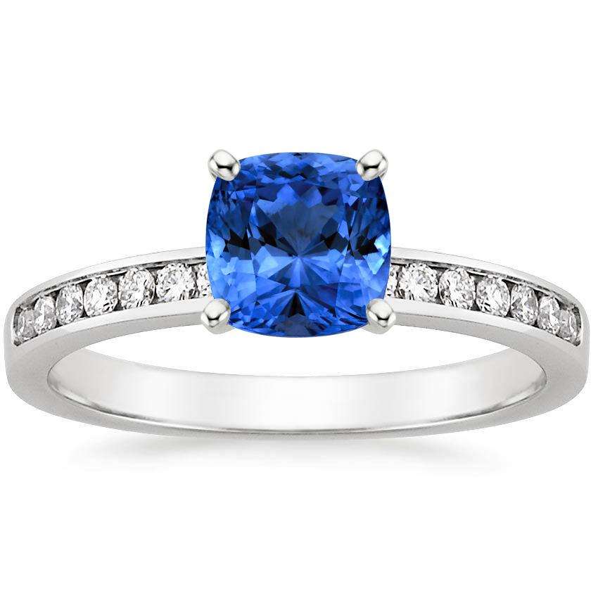 Sapphire Petite Channel Set Round Diamond Ring in 18K White Gold with 6x6mm Cushion Blue Sapphire