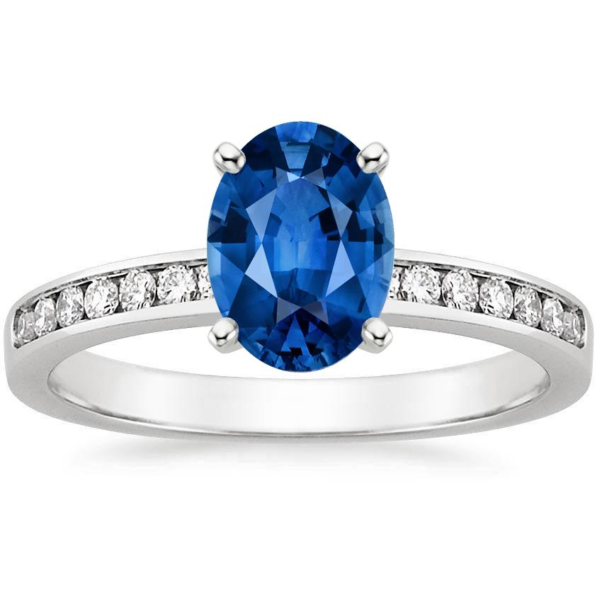 18K White Gold Sapphire Petite Channel Set Round Diamond Ring, top view