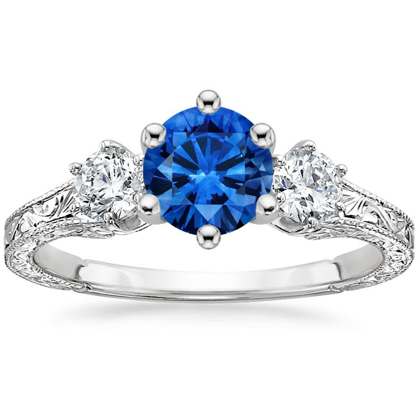 Sapphire Three Stone Hudson Diamond Ring 1 3 Ct Tw In