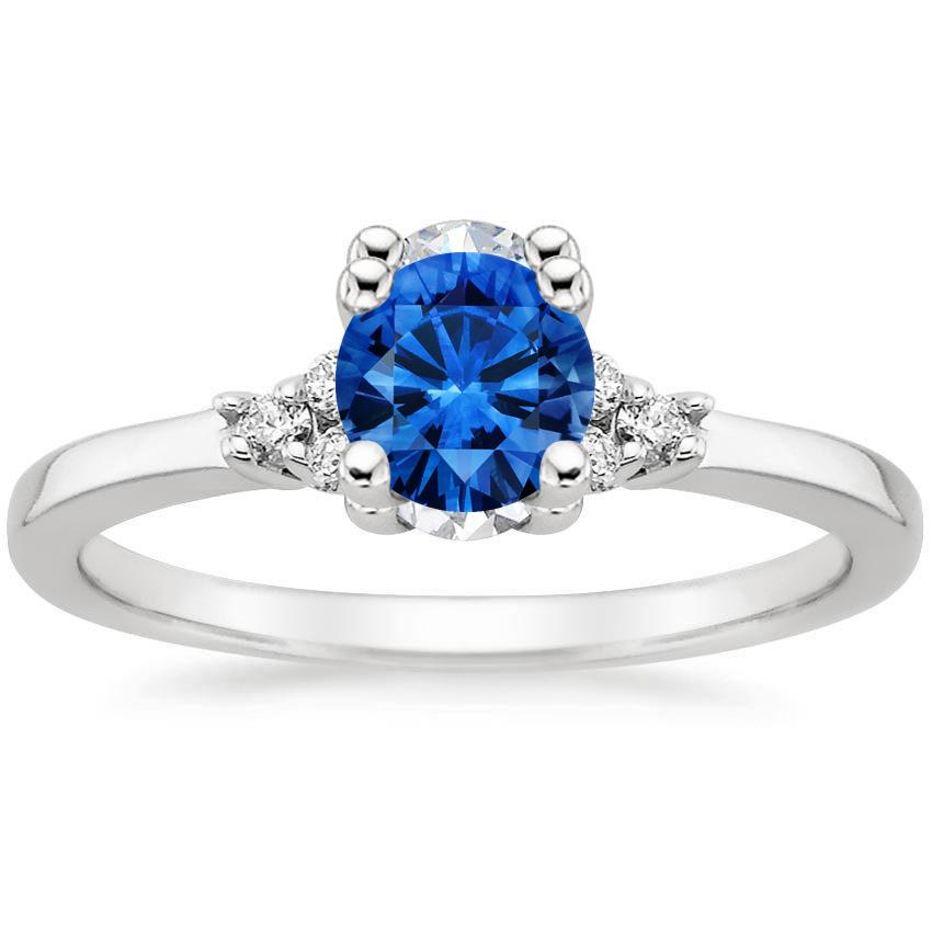 Sapphire Trio Diamond Ring in Platinum with 5.5mm Round Blue Sapphire