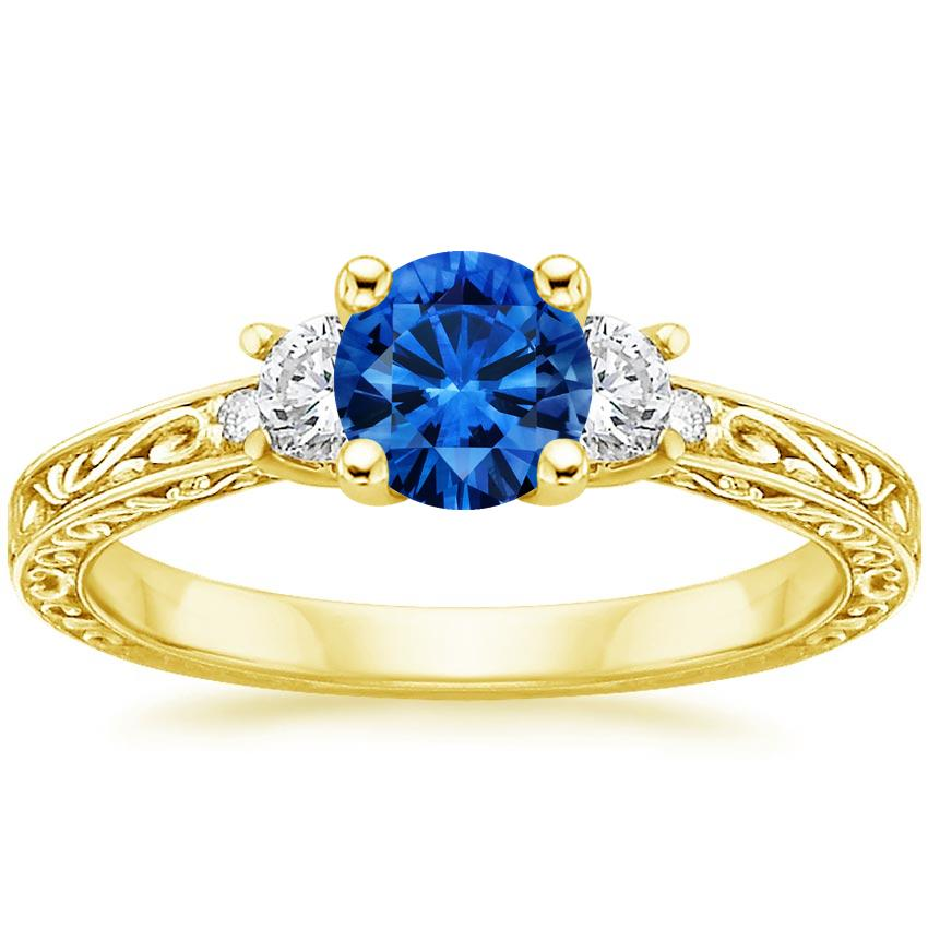 Sapphire Antique Scroll Three Stone Trellis Diamond Ring (1/3 ct. tw.) in 18K Yellow Gold with 5.5mm Round Blue Sapphire