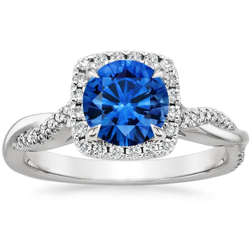 Sapphire Petite Twisted Vine Halo Diamond Ring (1/4 Ct. Tw