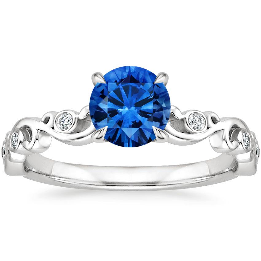 Sapphire Petite Ivy Scroll Diamond Ring In 18k White Gold