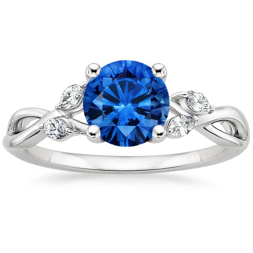 Sapphire Willow Diamond Ring (1/8 ct. tw.) in Platinum with 6.5mm Round Blue Sapphire