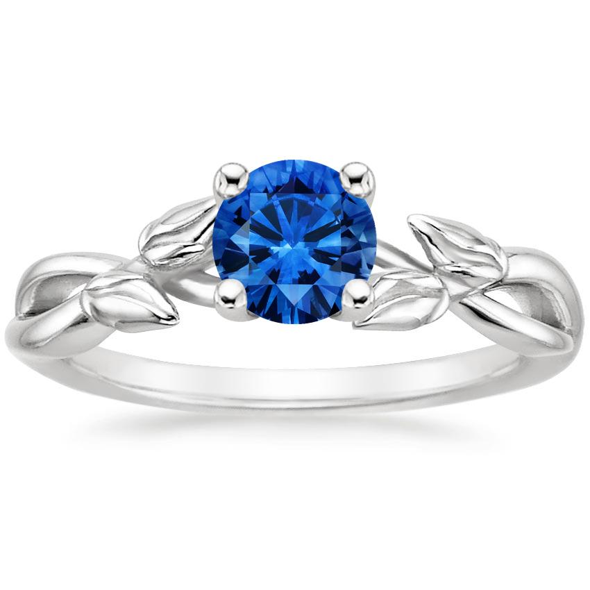 Sapphire Budding Willow Ring in Platinum with 5.5mm Round Blue Sapphire