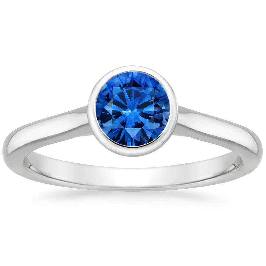 18K White Gold Sapphire Luna Ring, top view