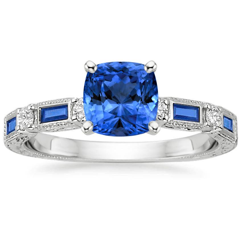 18K White Gold Sapphire Vintage Sapphire and Diamond Ring, top view