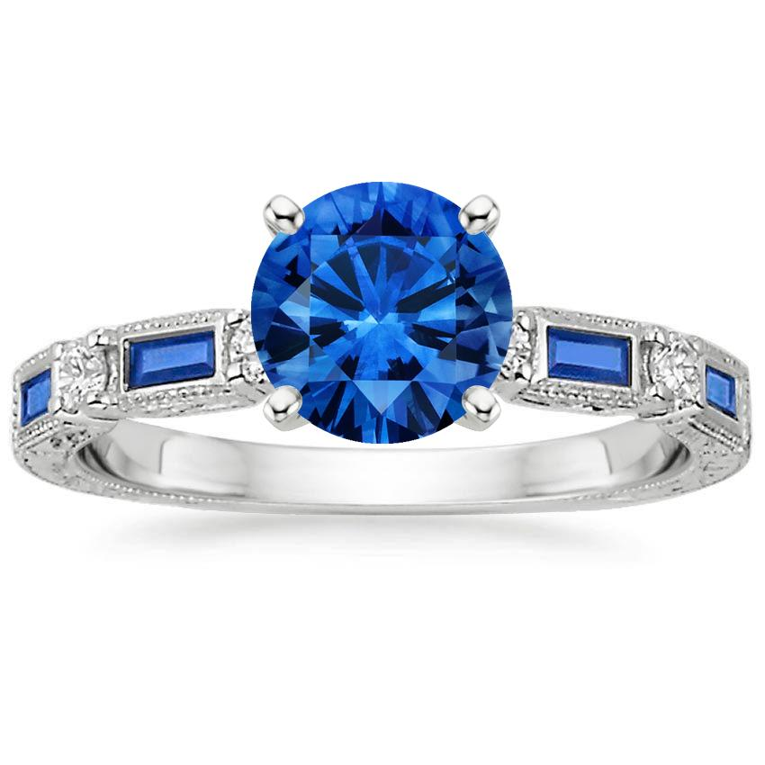 Platinum Sapphire Vintage Sapphire and Diamond Ring, top view
