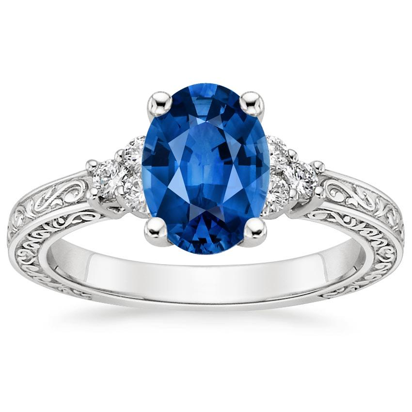 Sapphire Adorned Trio Diamond Ring in 18K White Gold with 8x6mm Oval Blue Sapphire